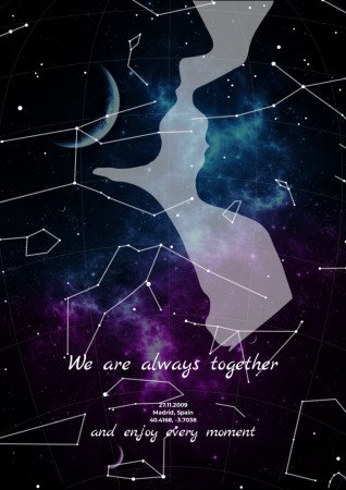 Map of the starry sky against the background of a silhouette of a romantic couple. When romance is combined with beauty, intelligence and joy, it brings moments remembered for a lifetime. Be happy and give each other joy.