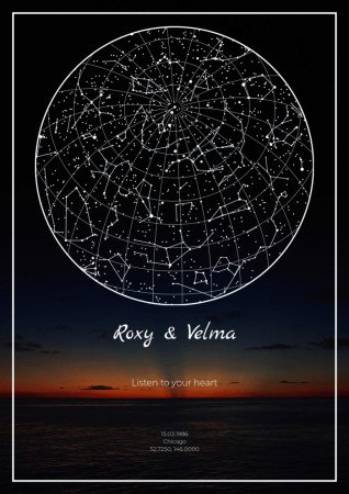 A map of the starry sky against the backdrop of sea sunset will be a wonderful gift on a memorable date.